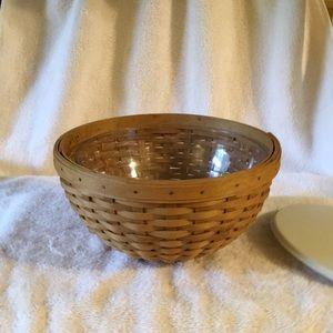Longaberger 9 inch bowl basket with hard protector